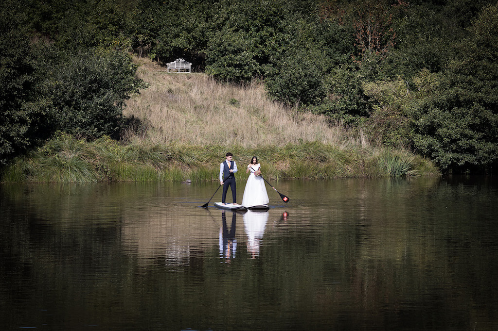 Standing up paddle boarding to the ceremony